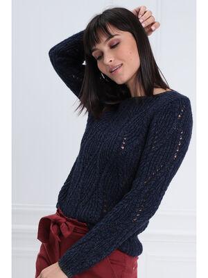 Pull manches longues ajoure bleu fonce femme