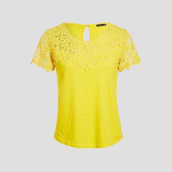 T-shirt col rond avec macramé jaune femme