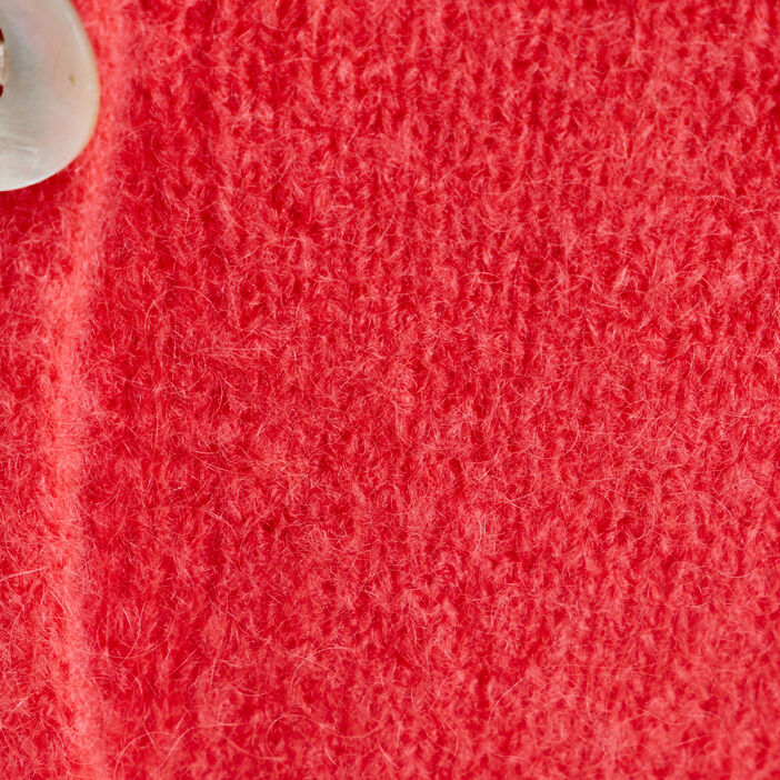 Gilet manches longues boutonné rose femme