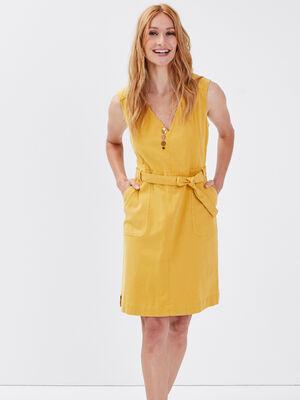 Robe droite ceinturee jaune moutarde femme