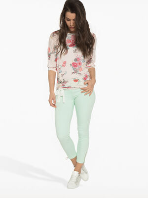 Pantalon 78eme avec zips vert clair femme