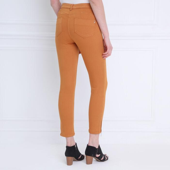 Pantalon ajusté taille haute camel femme