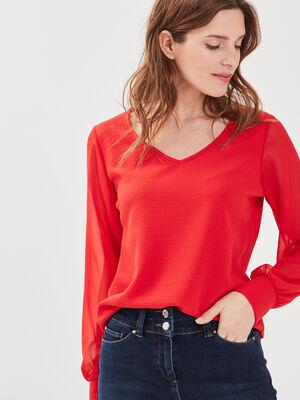 T shirt manches longues rouge fluo femme