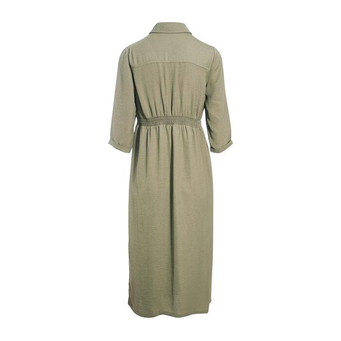 Robe chemise midi boutonnée vert kaki femme