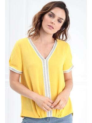 Blouse manches courtes bandes orange clair femme