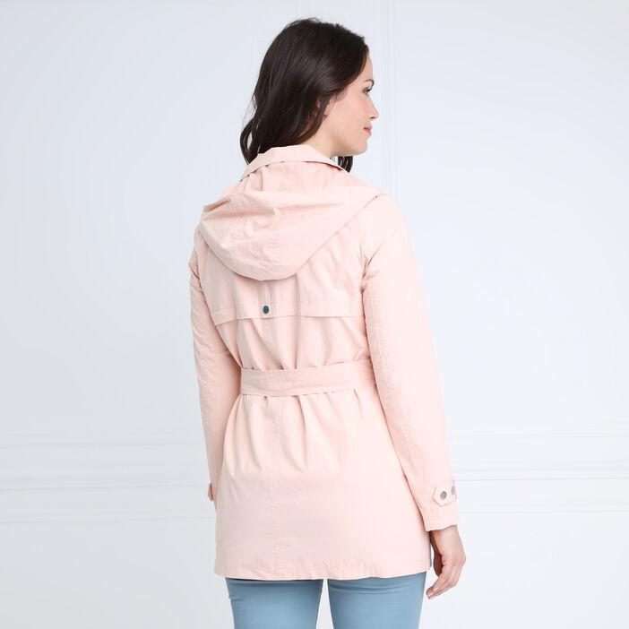 Trench droit coton à capuche rose clair femme