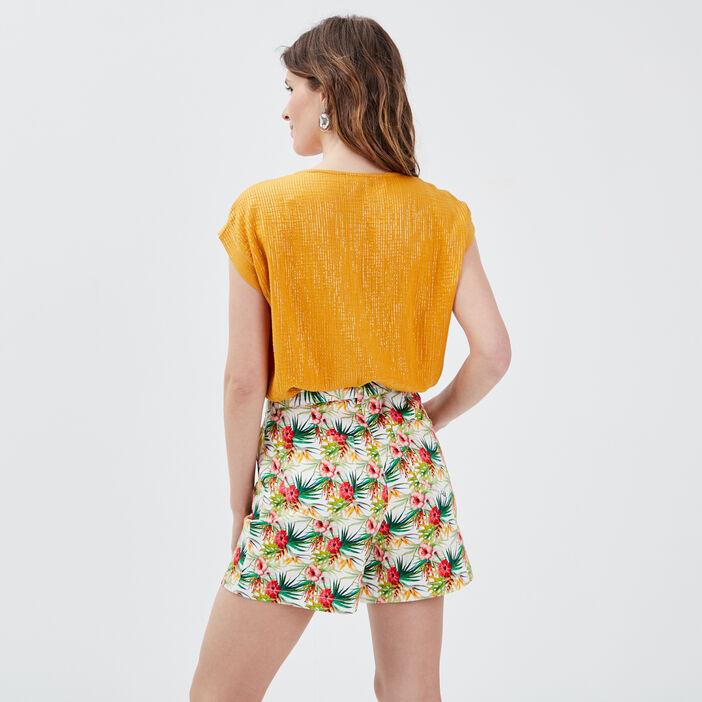 Blouse manches courtes jaune or femme