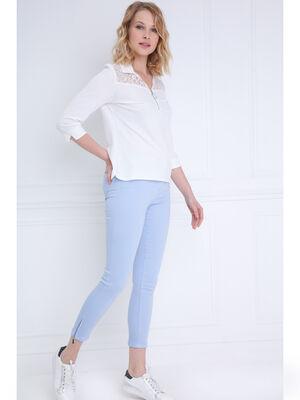 Pantalon ajuste taille haute bleu gris femme