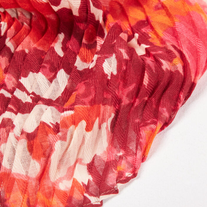 Foulard plissé rouge femme