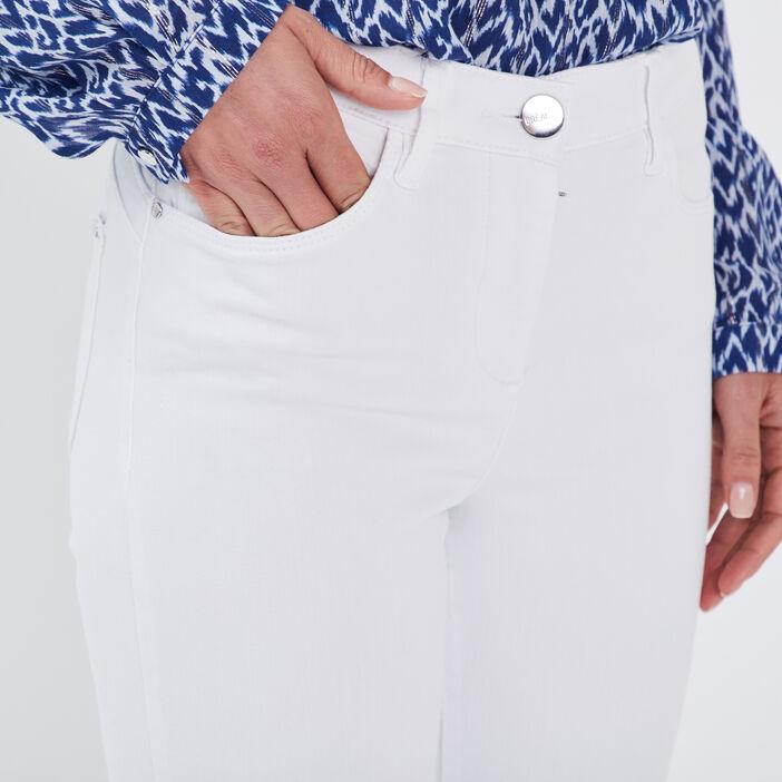 Jean ajusté taille standard blanc femme