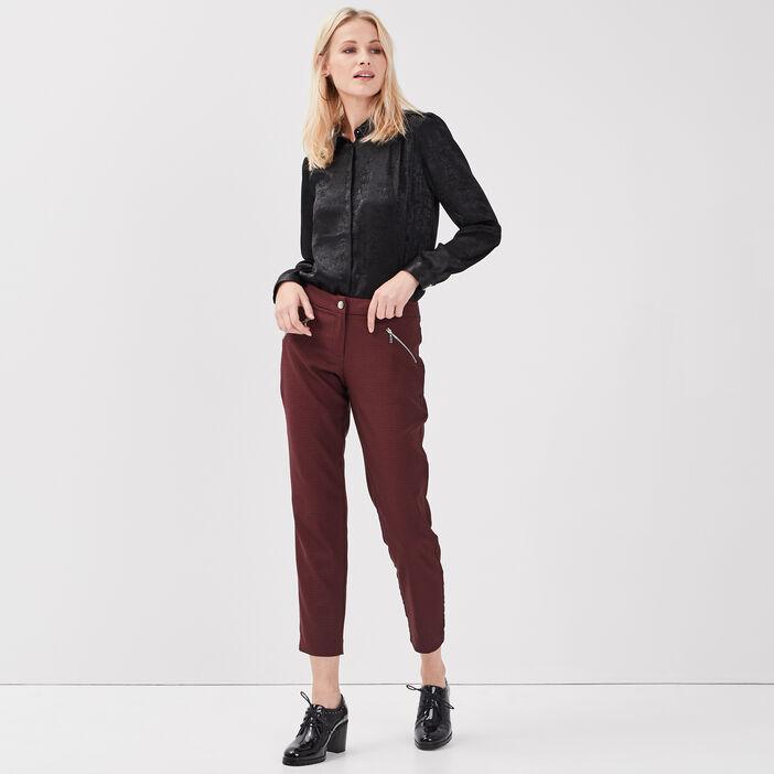 Pantalon droit taille basculée bordeaux femme