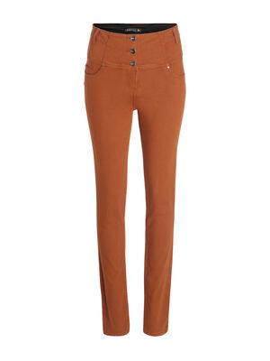 Pantalon magique gainant uni marron femme