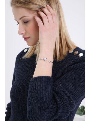 Bracelet metal effet marbre couleur argent femme