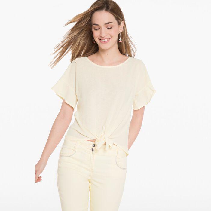 T-shirt léger à nouer devant jaune clair femme