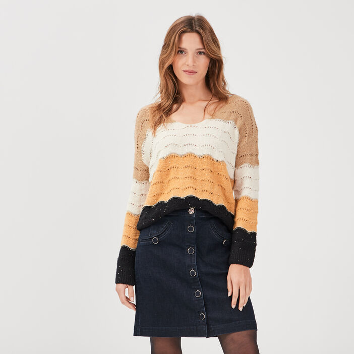 Pull manches longues ajouré jaune or femme