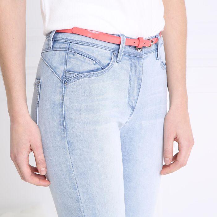 Pantacourt jean avec ceinture denim double stone femme