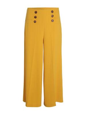 Pantalon a pont taille haute jaune or femme