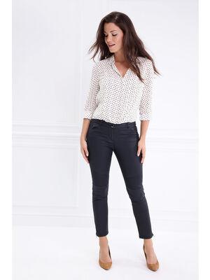 Pantalon taille basculee esprit motard gris fonce femme