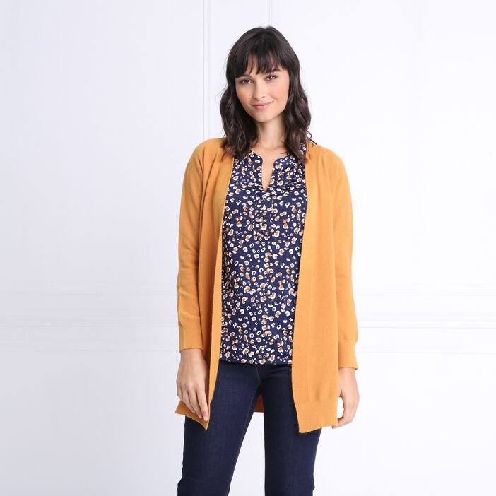 Cardigan manches longues jaune moutarde femme