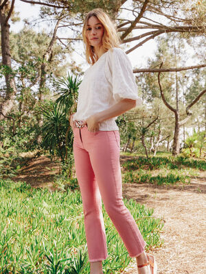 Pantalon evase taille basculee vieux rose femme