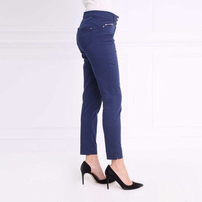 Pantalon imprimé à pois bleu foncé femme