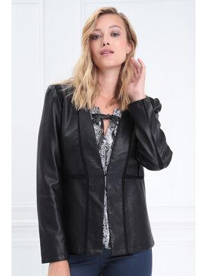 Veste cintree col en V montant noir femme