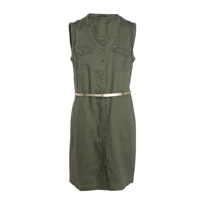 Robe courte ajustée à ceinture vert kaki femme