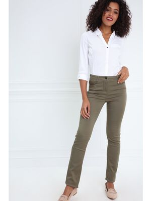 Pantalon ajuste taille standard vert olive femme
