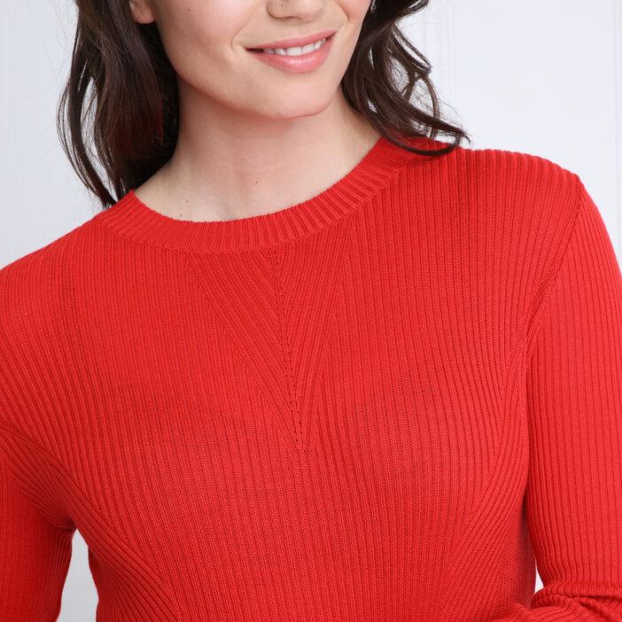 Pull manches longues ajusté rouge femme