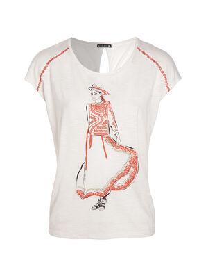 T shirt uni dessin avant ivoire femme