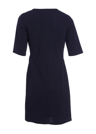 Robe droite detail boucle bleu marine femme