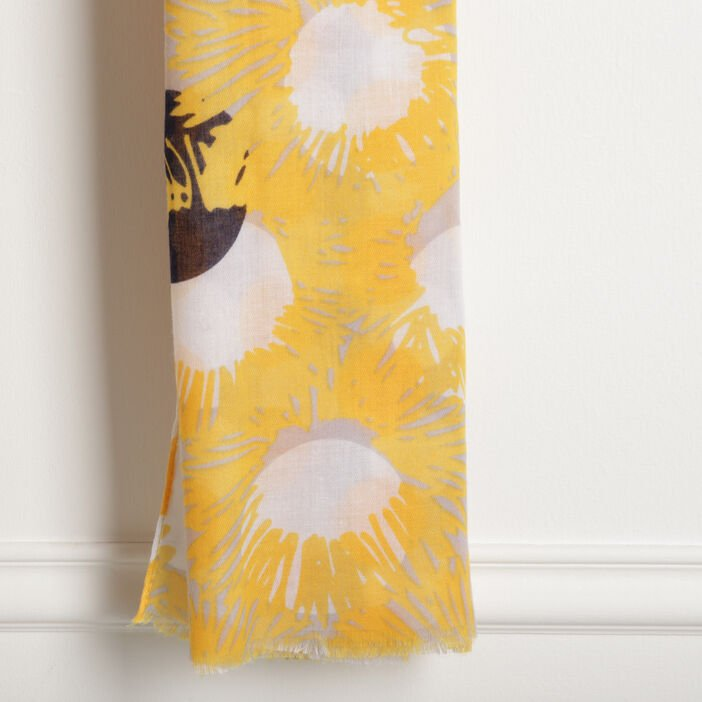 Foulard franges courtes jaune moutarde femme