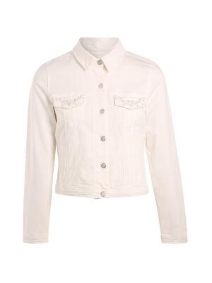 Veste courte coton brodee poche ecru femme