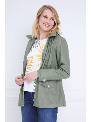 Parka droite lin et coton vert kaki femme