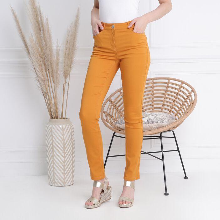 Pantalon taille standard zip poches jaune moutarde femme