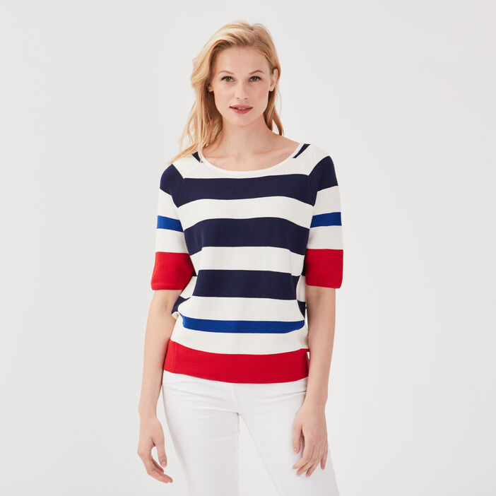 Pull manches 3/4 ruban noué rouge femme