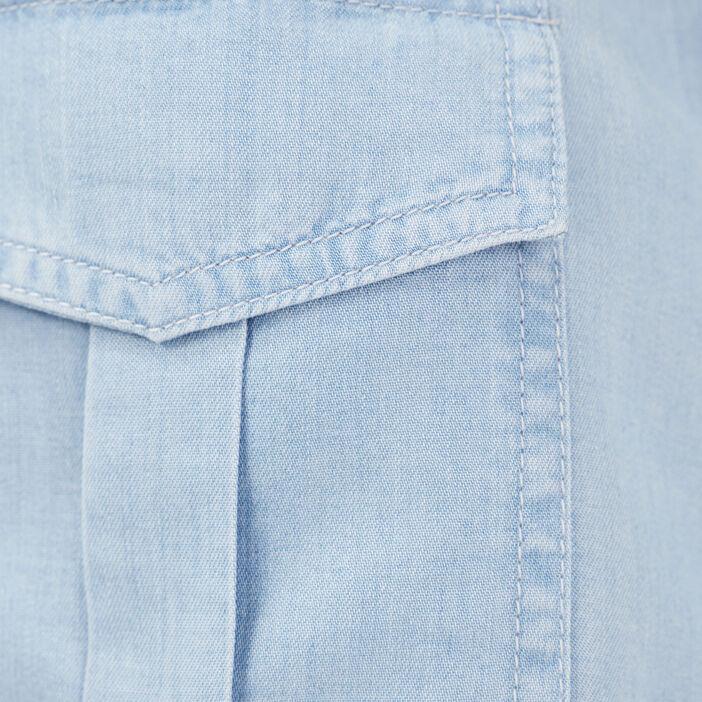 Chemise manches longues denim bleach femme