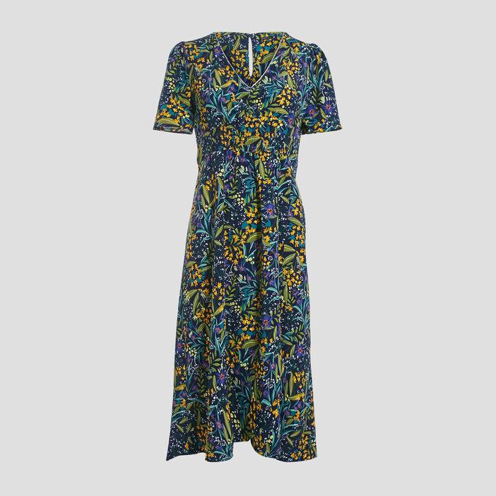 Robe longue évasée bleu marine femme