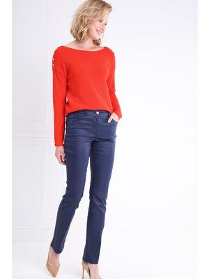 Pantalon droit enduit taille basculee bleu fonce femme
