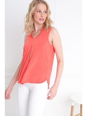 T shirt debardeur lien bijoute orange corail femme