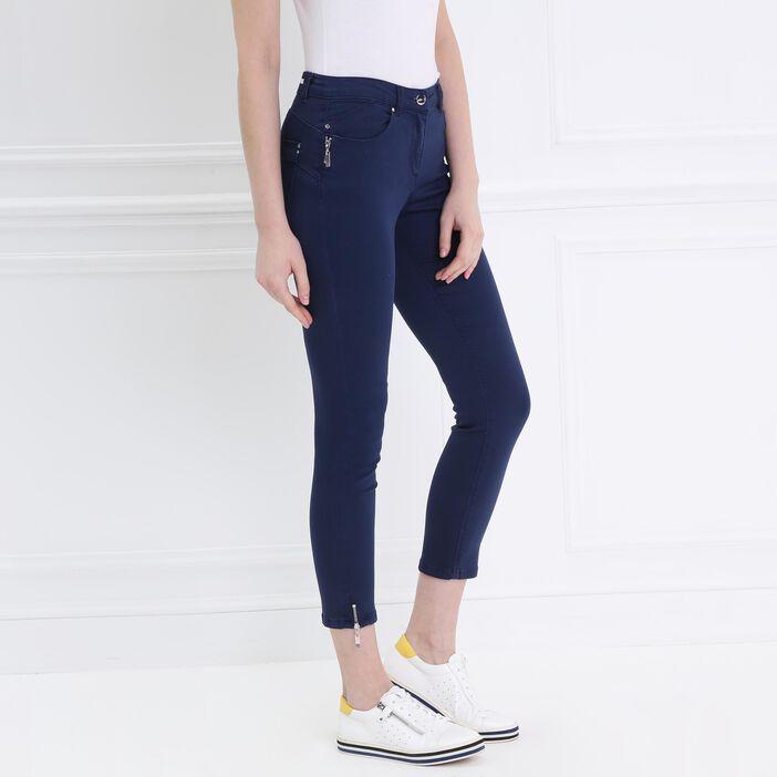 Pantalon 7/8 satin bleu foncé femme