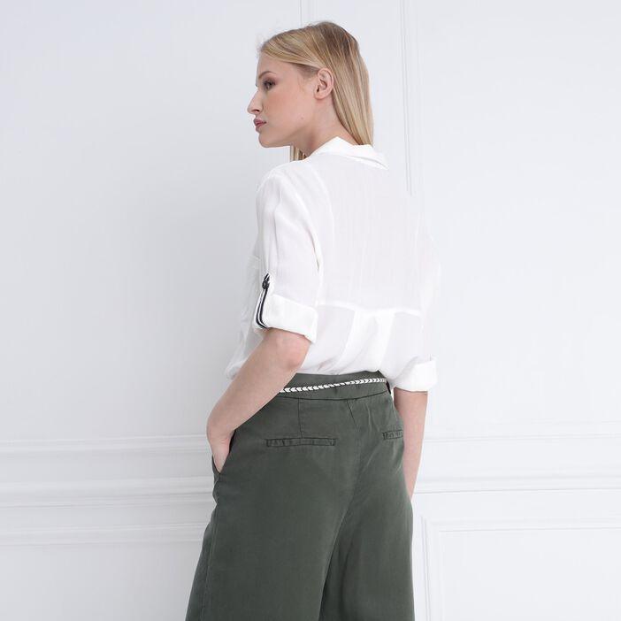 Blouse manches 3/4 avec poches ecru femme