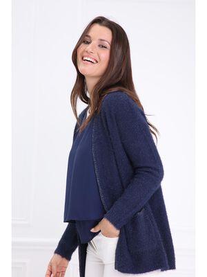 Gilet shaggy liseres metallises bleu marine femme
