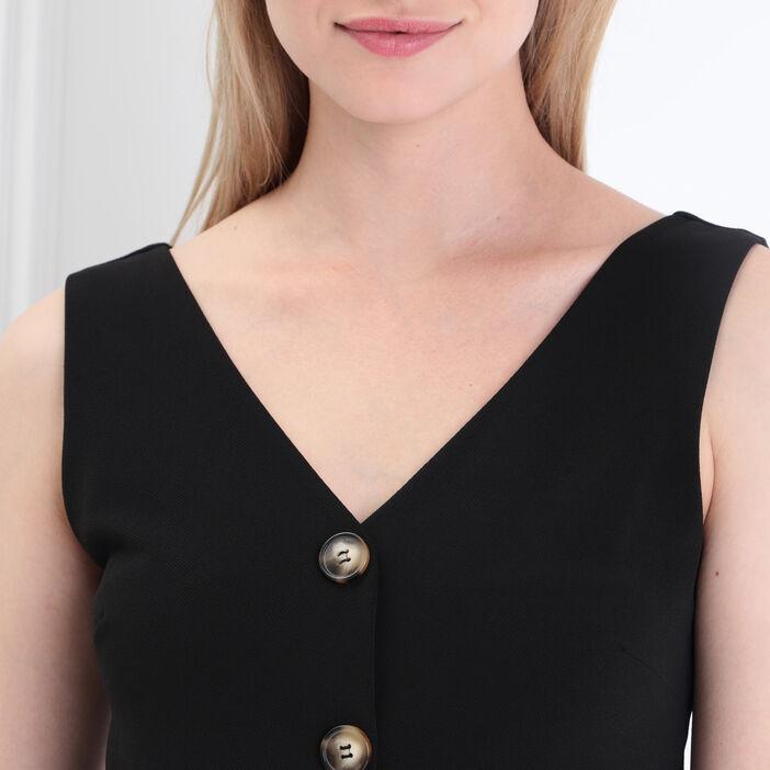 Robe droite bretelles larges noir femme