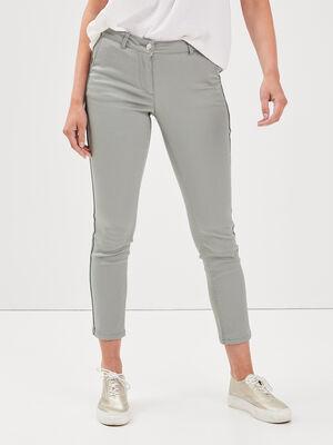Pantalon ajuste bandes cotes vert clair femme