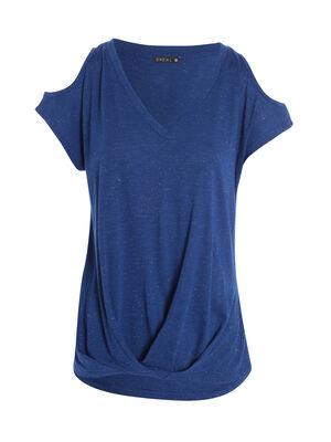 T shirt ouvert sur epaules bleu electrique femme
