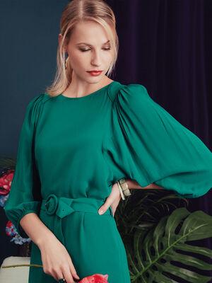 Robe evasee ceinturee vert emeraude femme