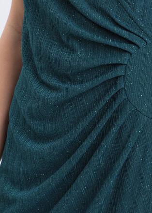 Robe ajustee effet croise vert canard femme