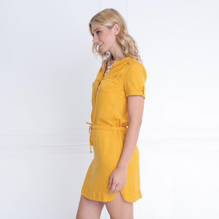 Robe courte ajustée en jean jaune or femme