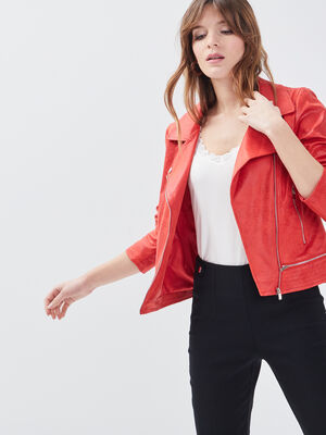 Veste esprit motard zippee rouge femme